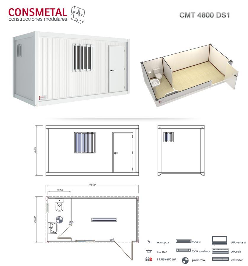 Casetas casetas de obra modulos prefabricados venta for Caseta de chapa desmontable
